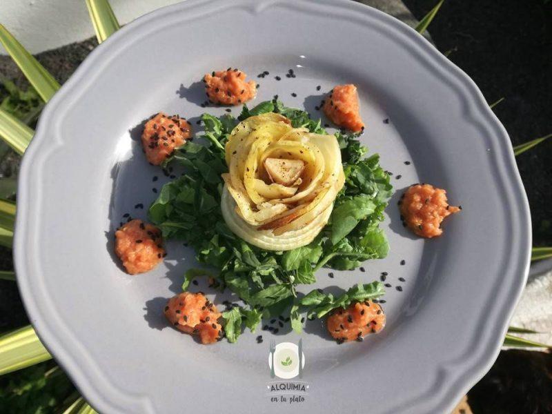 Flor de papa asada con kétchup saludable